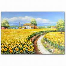 country road and modern flower natural scenery art oil painting 2013