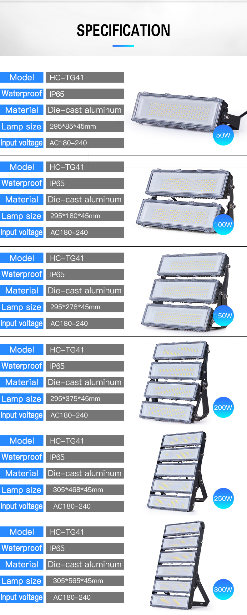 HIGH CLASS Factory price high lumen ip65 outdoor smd 50w 100w 150w 200w 250w 300w floodlight