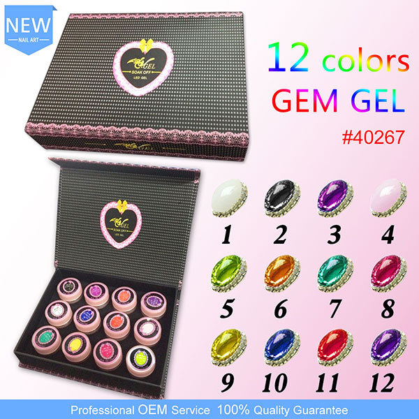 #40267a Gel color uv nails kit GEM CANNI Nail Transparent GEM Soak Off 3D Nail Art Paiting 12 Colors 8 ml Gem Stone Gel Vanishe