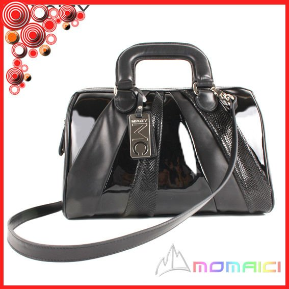 Newest Korean fashion style patent leather ladies tote handbag three mathing color bag