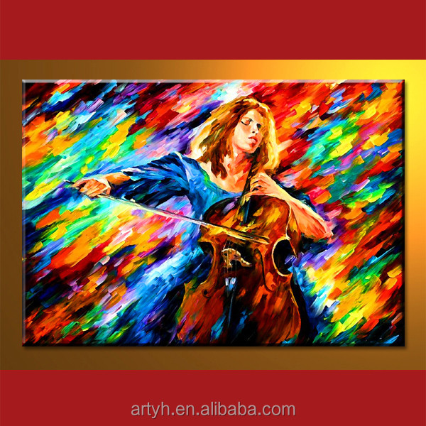 New arrival knife figure with guitar handmade wall decoration acrylic painting