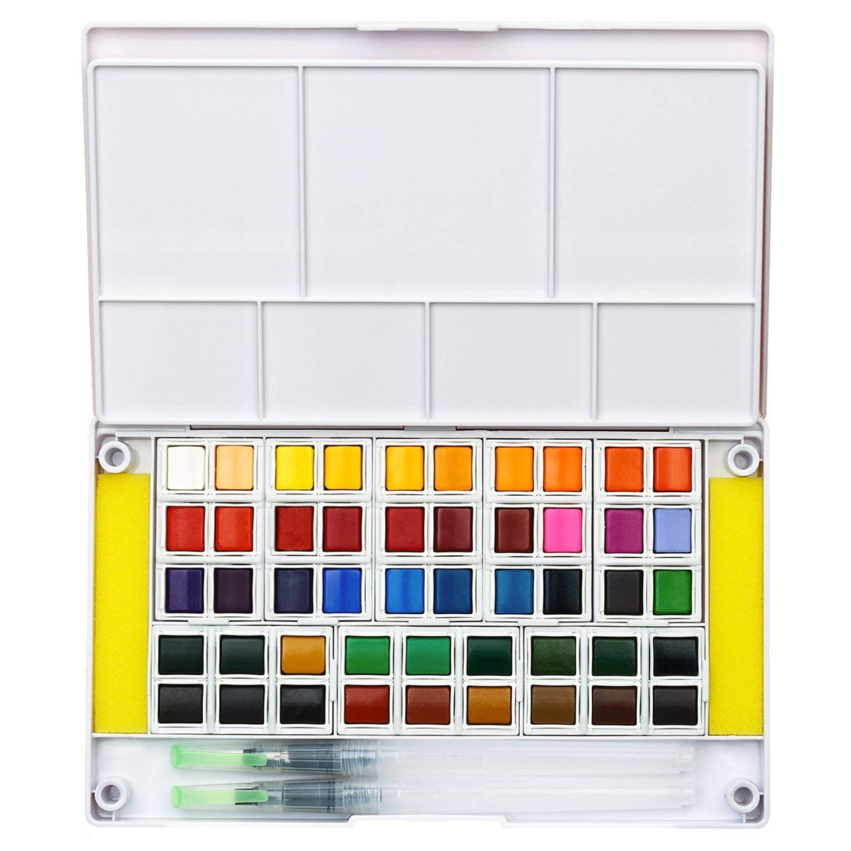 Professional Watercolor Paint Set - 48 Colors, Portable Travel Water Color Kit Includes 2 Water Brushes - 2 Sponges and Mixing Palette, Perfect for Budding Hobbyists, Artists