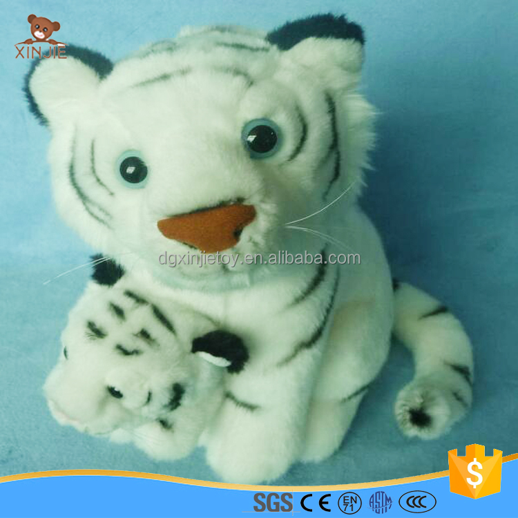good quality reality baby and mom plush tiger toy