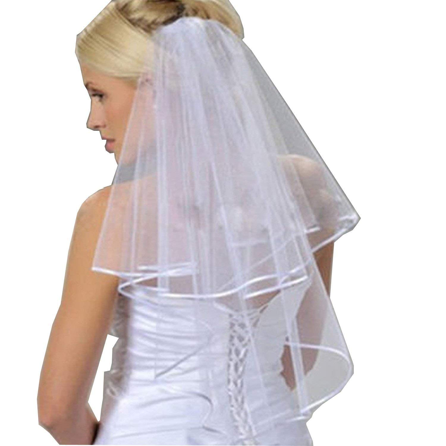 Charmingbridal Two Layer Ribbon Edge Short Wedding Bridal Veil with Comb (Ivory)