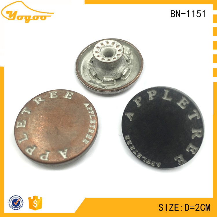 Custom Painted Engraving Metal Clothing Shank Buttons for Denim Wear