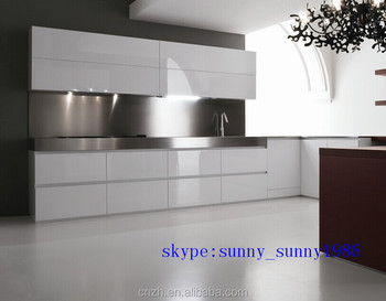 glossy white flat packed kitchen cabinets for hotel project (factory ...