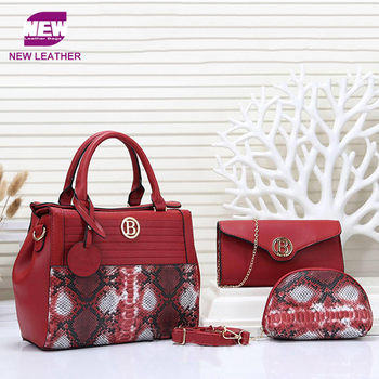 Wholesale women snake leather 3 pcs pu bags set high fashion handbags from China factory
