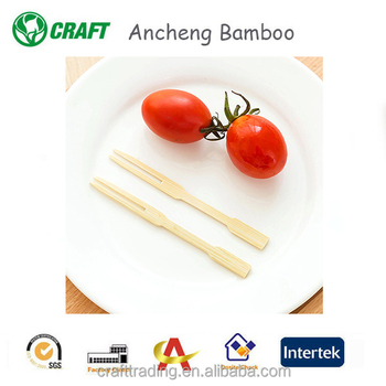 "3.5"" bamboo wooden salad fuit fork"