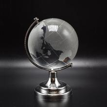 Wholesale crystal world map globe with silver metal stand for school studant gifts
