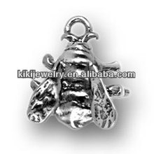 antique silver plated fly bee charm(184364)