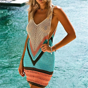 SJ081 European fashion hand-knitted crocheted hollowed-out one-piece dress beach slip bikini top swim skirt