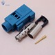 Fakra SMB female crimp connector for RG58 cable water blue