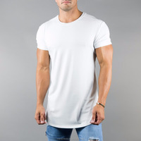 White 94% Cotton 6% Spandex Rolled Muscle Tee New Fashion Lifestyle T Shirt Hot Sale Longline Curved Hem T Shirt
