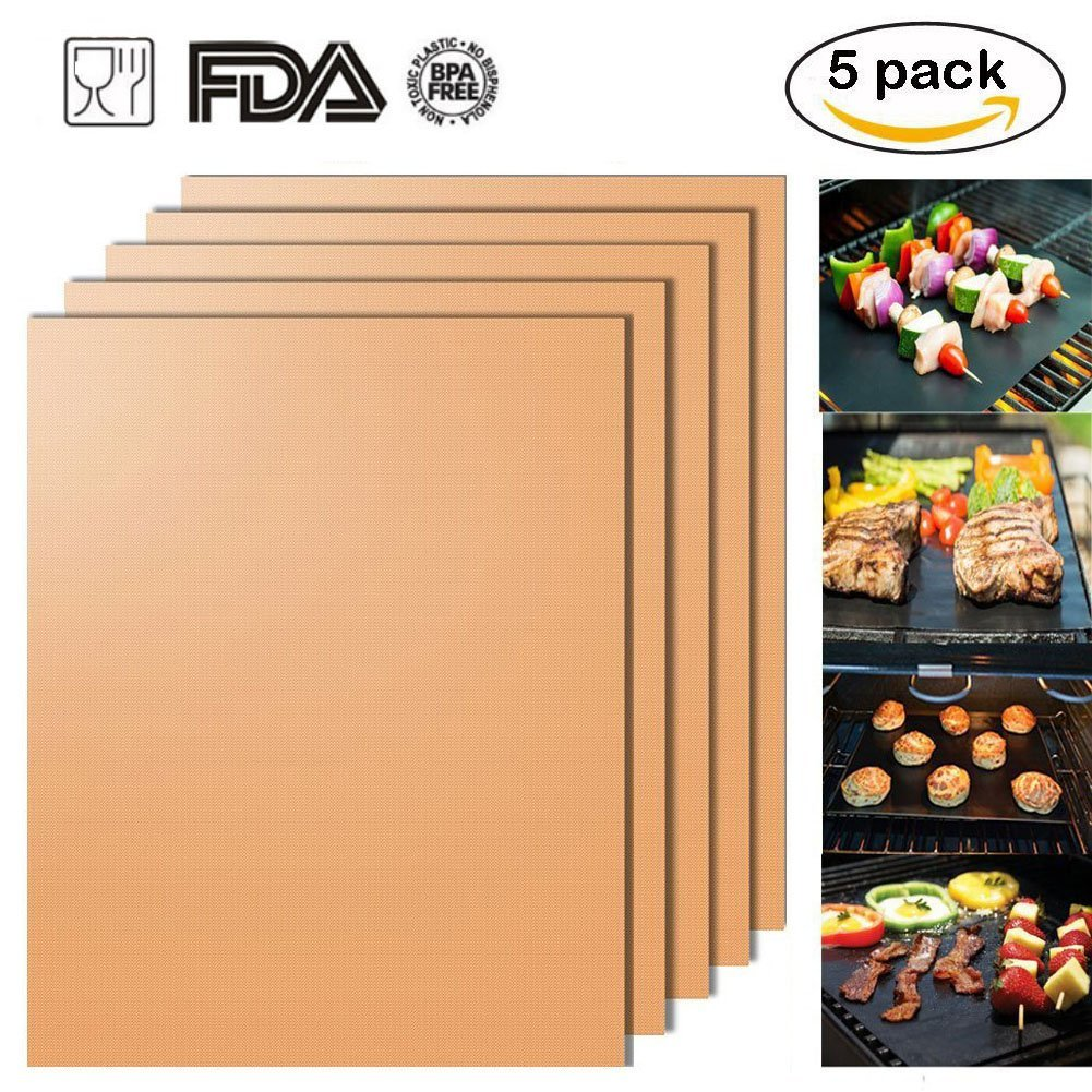 Grill Mat Non-stick BBQ Grill & Baking Mats Sef of 5, Reusable and Easy to Clean, Suitable for Gas, Charcoal, Electric Grill and More (Gold)