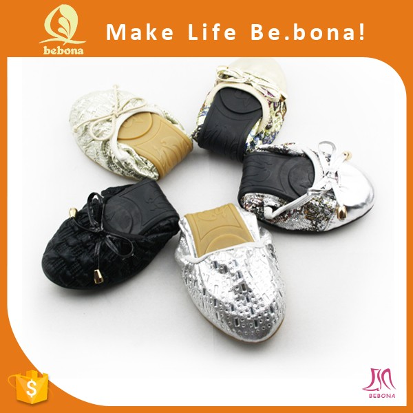 Wholesale 100% Genuine Leather Foldable Flat Shoes Women Stylish ...