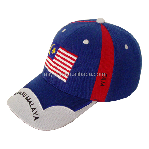 China OEM party event festival white knit fabric malaysia american flag embroidery flexfit baseball cap with long bill