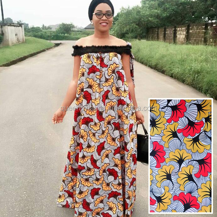 S121 Queency New African Fashion Leaves Print Stretch Satin Lace Fabric for Sale