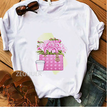 Летняя женская футболка с розовым цветком, роскошная сумка, дизайн Vogue, футболка для девочек, белые хлопковые мягкие повседневные футболки, ...(Китай)