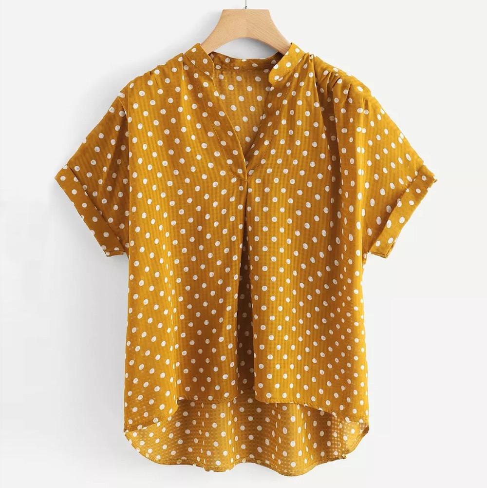 7ff58442802 2019 Womens Tops And Blouses Summer 2018 Yellow Polka Dot V Neck ...
