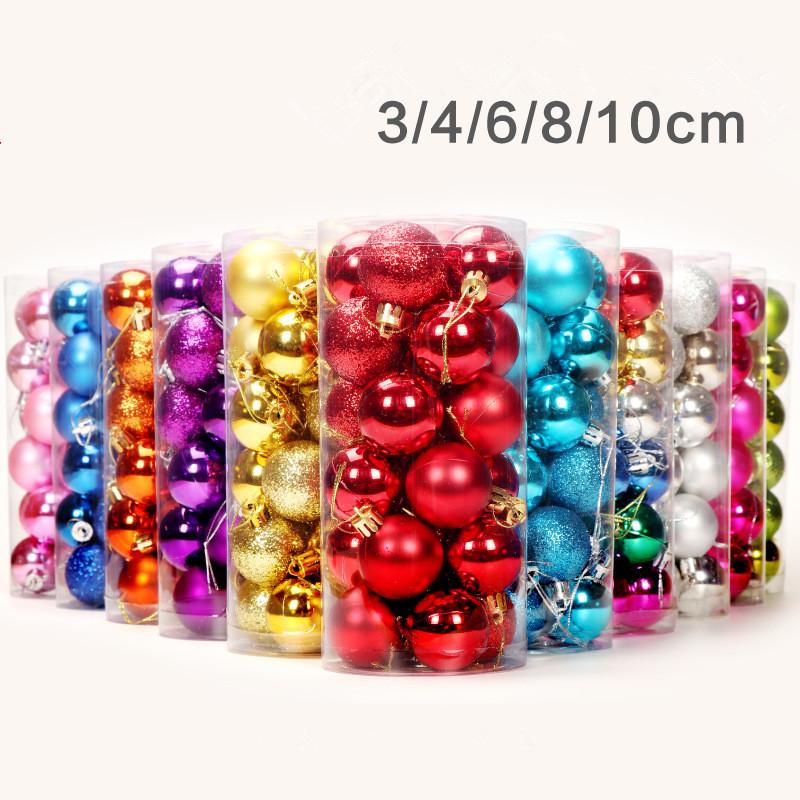 Nieuw product kerst decor multi-gekleurde kerst bal 3-10cm sets met pvc box voor kerst