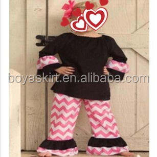wholesale toddler boutique outfit girls ruffle clothes black dresses striped pants clothing manufacturing companies