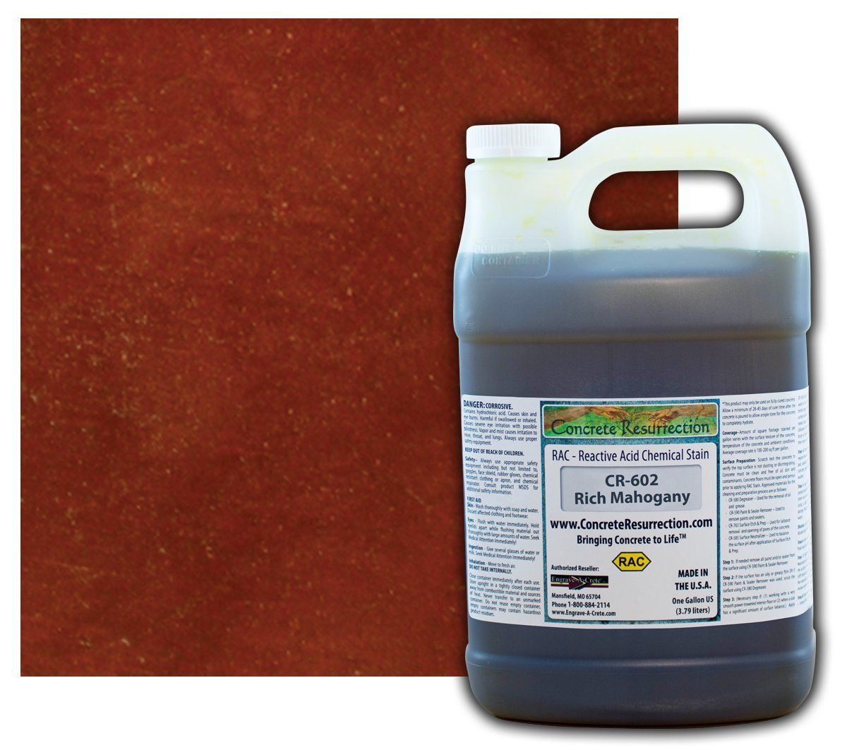 Concrete Stain Professional Easy to Use Acid Stain Rich Mahogany (Dark Brown with Red Undertones) - 1 Gallon Concrete Resurrection
