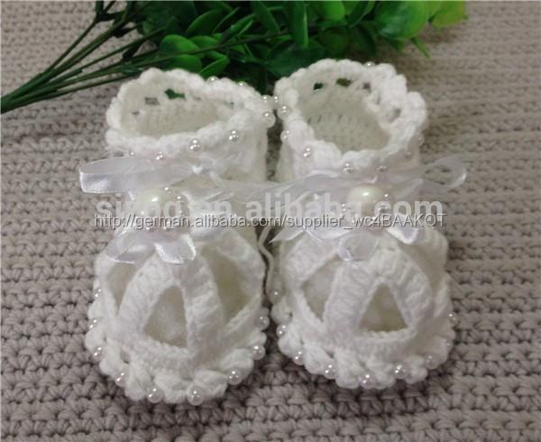 Gehäkelten babyschuhe, häkeln baby sandalen mit perlen-Babyschuhe ...