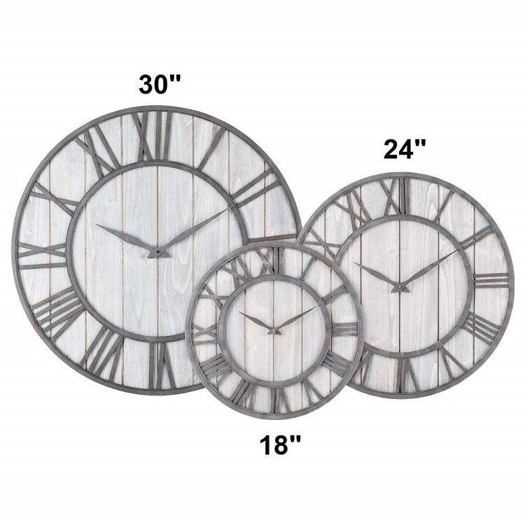 Wooden Roman Numbers Rustic Art Accessories Pieces Luxury Nordic Silver Gold Modern Room Handicraft Metal Wall Clock