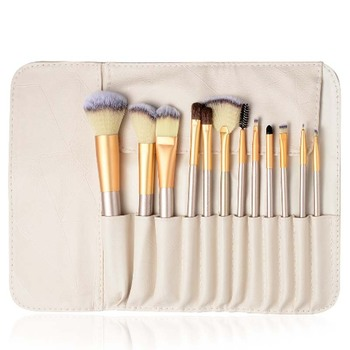 Private Label Your Own Brand Professional High Quality 12 pcs Synthetic Makeup Brush Set Sample With Bag