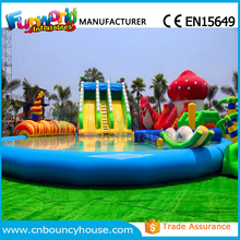 Inflatable water park playground used swimming pool slide