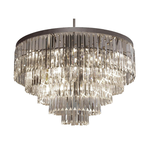 Guzhen High Quality Jansoul Contemporary Black Tiers Crystal Flush Mount Ceiling Light Chandelier