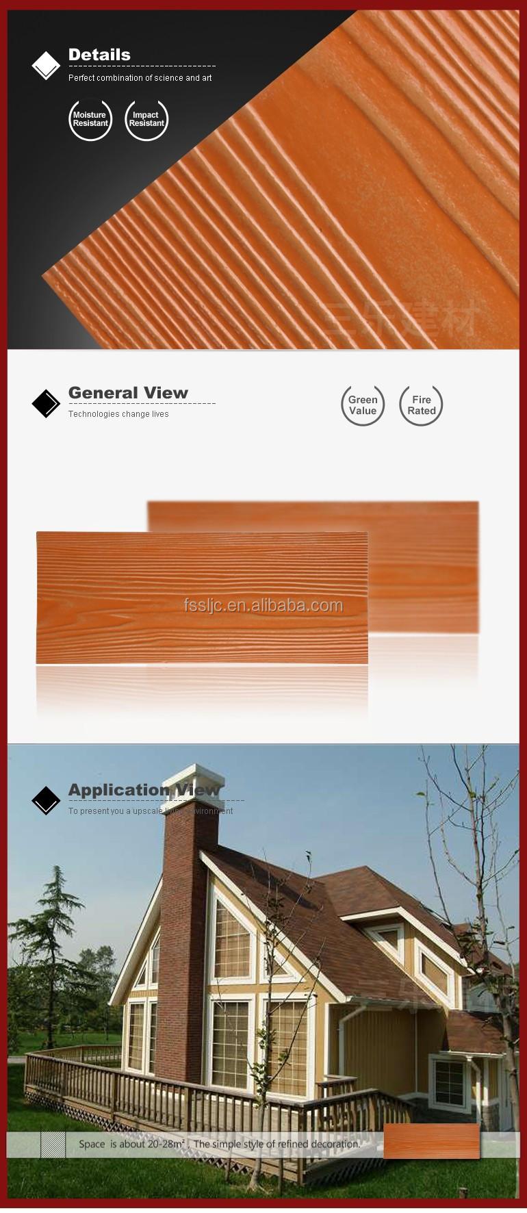 Inorganic Exterior Wall Siding Panels Wood Grain Fiber Cement Board