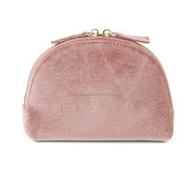 Faux Suede Pink Makeup Toilet Bag With Mirror
