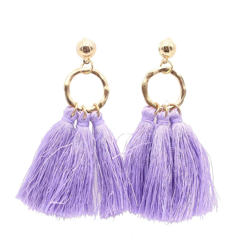 Gyoume Bohemian Earrings Women Tassel Earrings Lady Girls Long Tassel Fringe Boho Dangle Earrings Jewelry