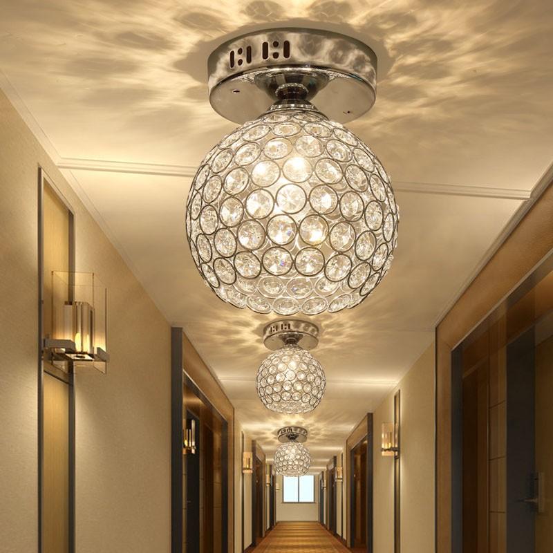 Hallway Light: Silver K9 Crystal Ceiling Light Aisle Lamp/corridor