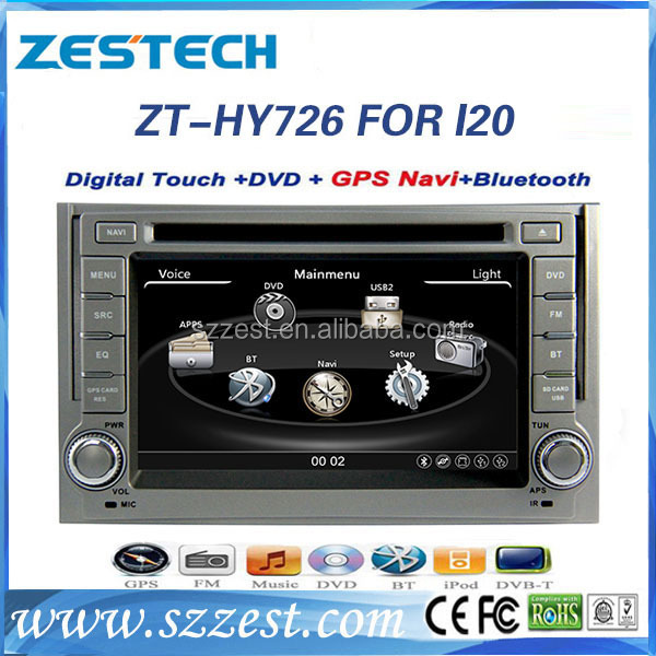 Hot sell Car pc for Hyundai I20 2008-2012 indash navigation car auto dvd cd player ZT-HY726