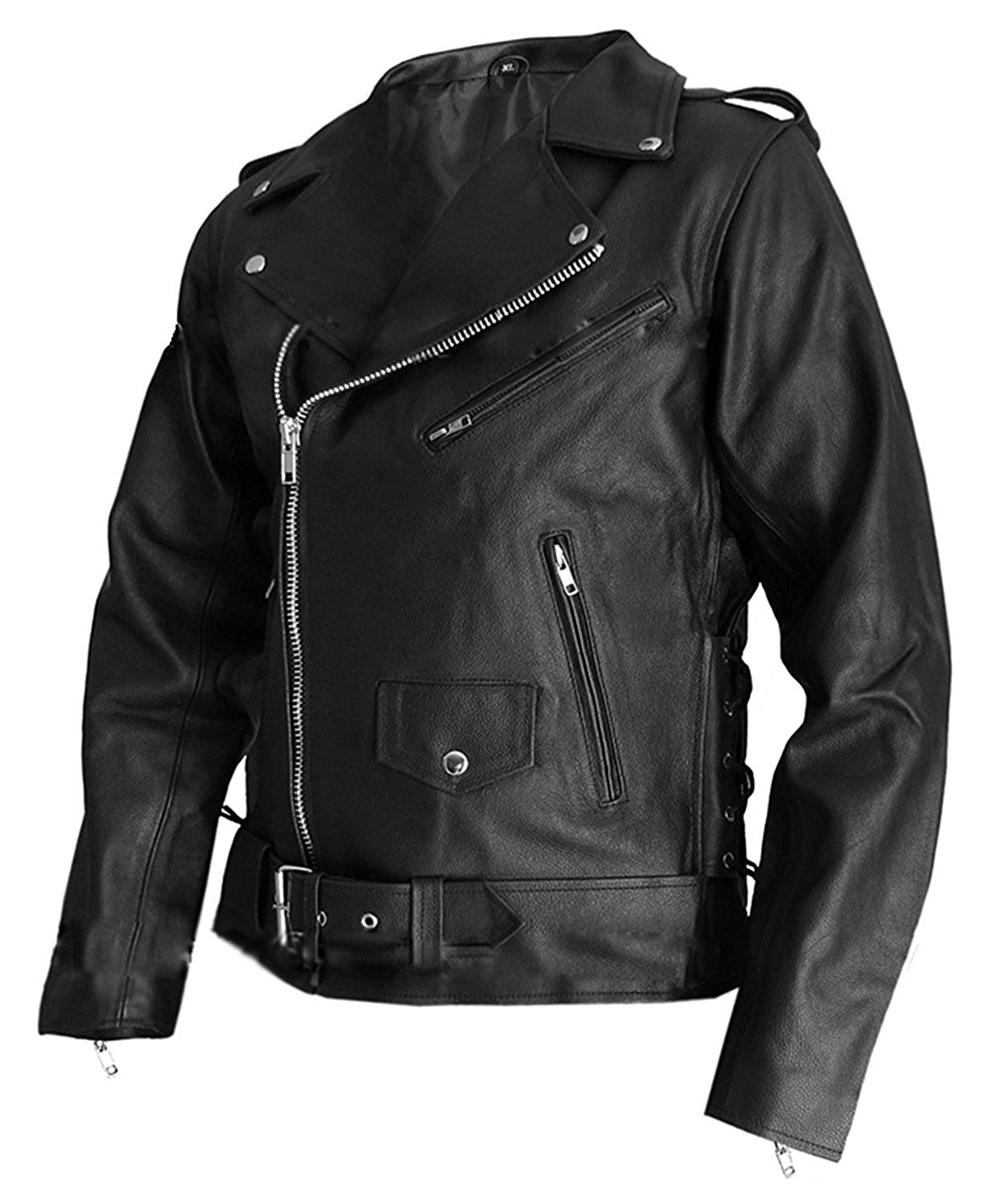 a5f26433114a8 Get Quotations · Men s Biker Style Black Real Leather Jacket