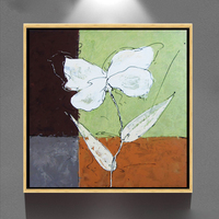 Hand painted modern home decor Artwork white orchid abstract acrylic canvas oil painting