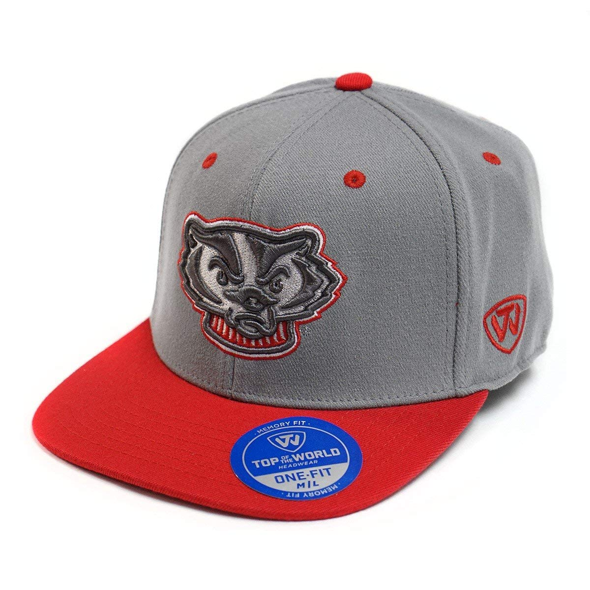 416820e560f Get Quotations · Top of the World University of Wisconsin Badgers Grey and  Red Intense M L Baseball