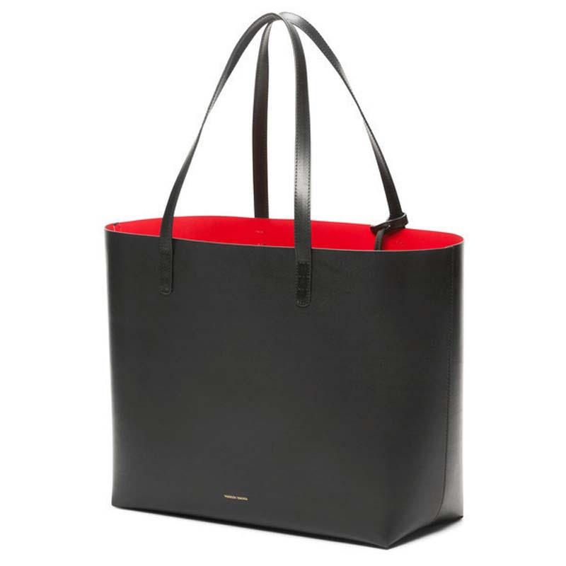 84baa6a7835a Get Quotations · Fashion Genuine Leather HandBags MANSUR GAVRIEL 2015 Style  Vintage Black Red Tote Bag Ladies Hand Bags