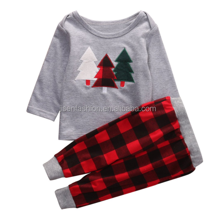 Wholesale Baby Outfits Christmas Applique Baby 2 Pieces Clothes Sets