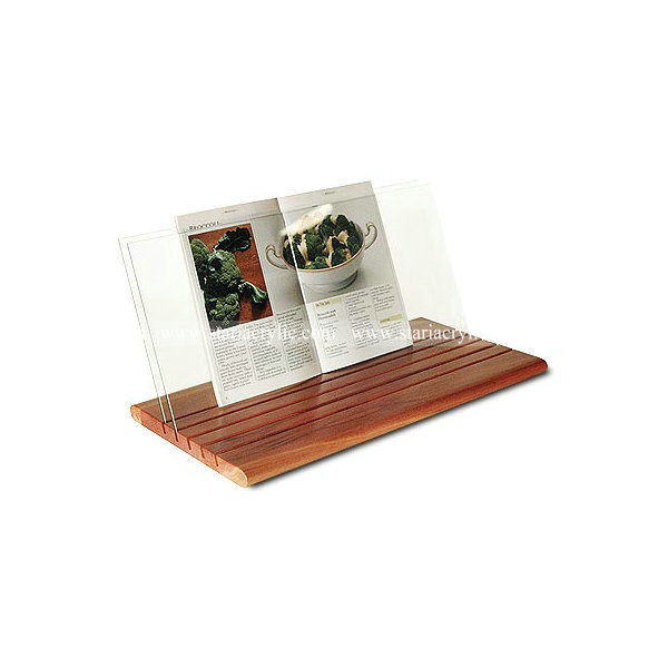 Acrylic Recipe Book Holder With Wooden Base Detachable And Stands