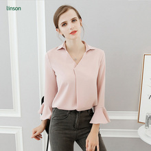 2018 Nieuwe Stijl Mode Effen Kleur Casual <span class=keywords><strong>Polyester</strong></span> Vrouwen Shirts Top Blouse