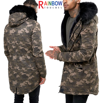Hot Sale Mens Winter Camouflage Jacket Military Coat With Faux Fur Hood 177c241f864