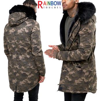 e7433803d2d83 Venta caliente para hombre invierno chaqueta de camuflaje militar Abrigo  con capucha de piel sintética