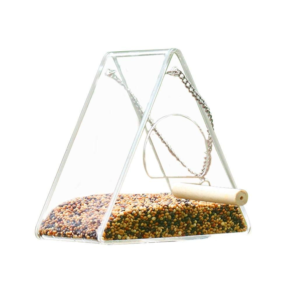 oftenrain Outdoor Bird Feeder with Stand Window Parrot Feeder Large Transparent Bird Feeder Weatherproof Bird Feeder Large Outside Hanging Birdhouse Feeder Acrylic Bird Feeder
