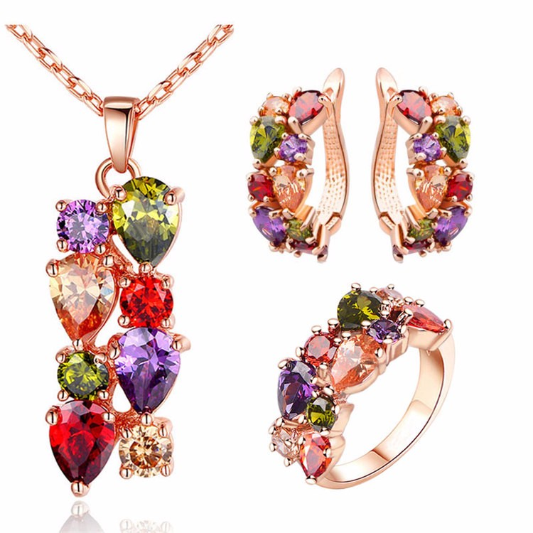 High end colorful cubic zirconia wholesale fashion 18K gold plated <strong>jewelry</strong>