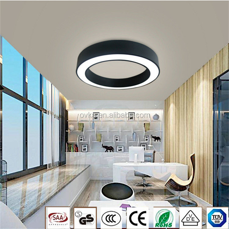 Creative Round black conference room hanging wire bar restaurant classroom lighting Led office lighting chandelier