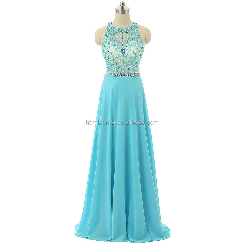 New Arrival Prom Dresses Light Blue Color One Piece Girls Party Wear ...