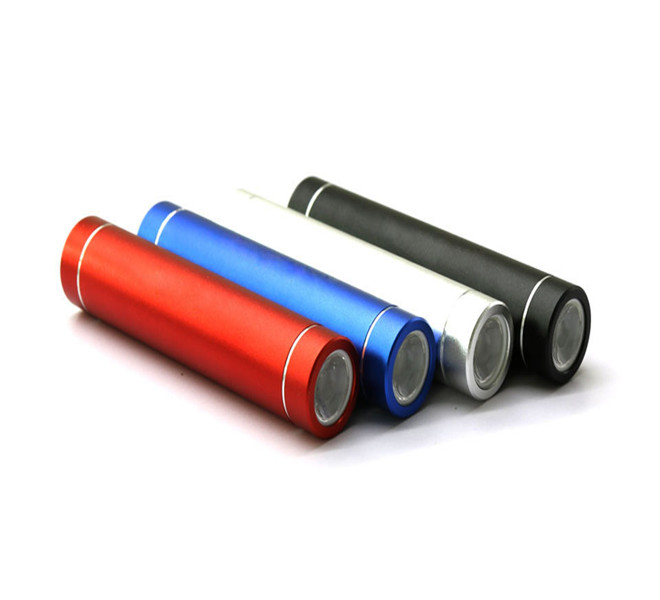 colorful 2600mah cylinder lipstick powerbank with led torth